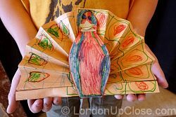 Asia House conducts children's workshops several times per year. This beautiful peacock, inspired by Vay Naidu's telling of 'The Peacock's Tail', was made at an Asia House family workshop.