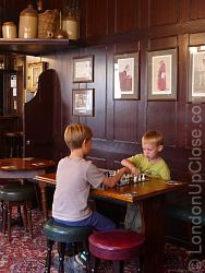 A game of chess at the Dover Castle pub in Marylebone, London - a great way to keep the kids happy!