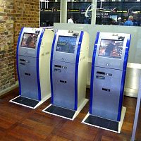 Eurostar e-ticket machines at St. Pancras International Station in London