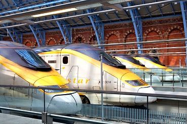 A lineup of Eurostar trains at St Pancras International station, London