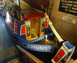 The Coronis canal barge in the London Canal Museum incorporates a reconstructed cabin, giving an idea of a canal family's living conditions.
