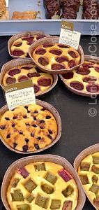 Delicious plum and cherry & almond tarts on Marylebone Farmers' Market