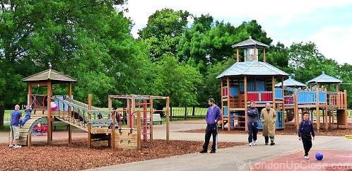 The two climbing frames cater for toddlers on up in Marylebone Green Children's Playground, Regent's Park