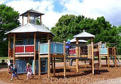 Walkways, ropes and slides keep children busy at Marylebone Green Children's Playground in Regent's Park.
