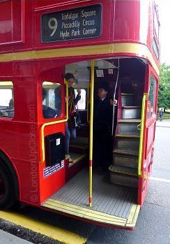 The open rear platform is one of the main features of the iconic Routemaster buses