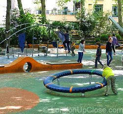 An unusual roundabout, and equally different climbing frame, on Paddington Street Children's Playground in Marylebone.