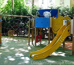A great climbing frame and slide for little ones at Paddington Street Children's Playground in Marylebone