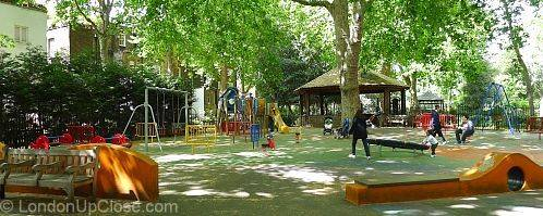 Paddington Street Children's Playground in Marylebone is shady playground and especially good for younger children.