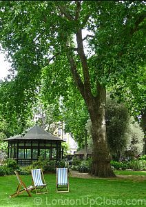 Relax in Paddington Street Gardens the shade of one of the fine London Plane trees, or - in wet weather - in the gazebo.