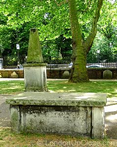 Two monuments from the burial ground remain in the northern section of Paddington Street Gardens.