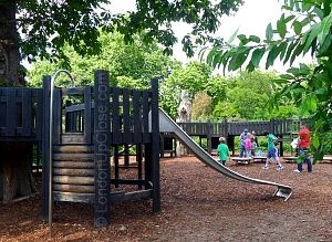 The walkways at the Princess Diana Memorial Playground are accessed by steps, ladders and poles, and exited via slides!