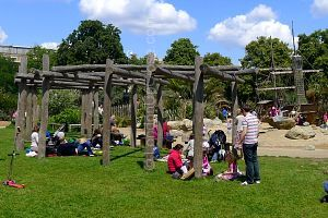 There are plenty of places to picnic at the Princess Diana Memorial Playground, while keeping children in sight.