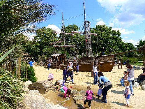Princess Diana Memorial Playground: The pirate ship and surrounding sandy sea form the centre piece of the playground.