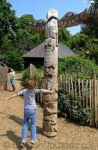 A beautifully carved totem pole at the Princess Diana Memorial Playground.