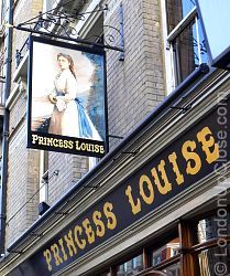 The sign of the Princess Louise pub in Holborn carries a portrait of Princess Louise, with the name in proud golden lettering.