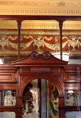 The mahogany screens between the booths and the corridor in the Princess Louise Pub in Holborn are elaborately carved.