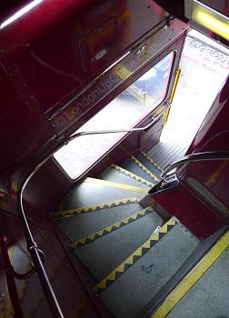 Don't attempt the stairs on the Routemaster bus without holding on tight to the handrail - especially if the bus is moving.