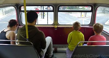 There's usually competition for the front seats on the upper deck of a Routemaster bus