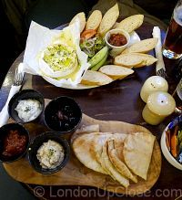 The menu at St. Stephen's Tavern offers some tasty snack options such as roasted camembert and a meze platter.